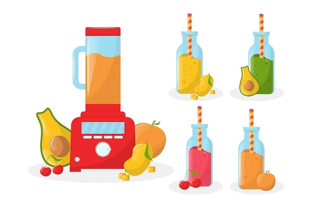 Smoothies détaillés dans un verre mélangeur