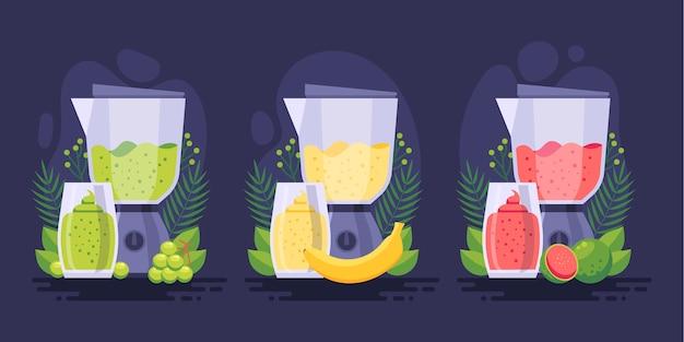 Smoothies plats dans l'illustration de verre mélangeur