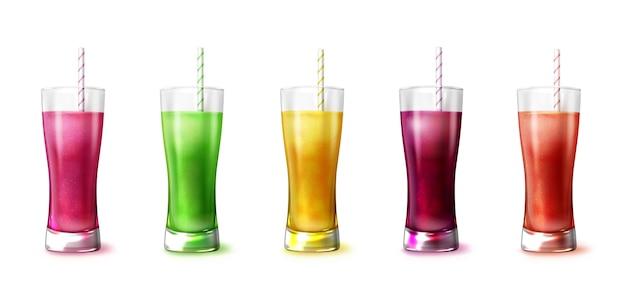 Smoothies réalistes dans l'illustration de verre mélangeur