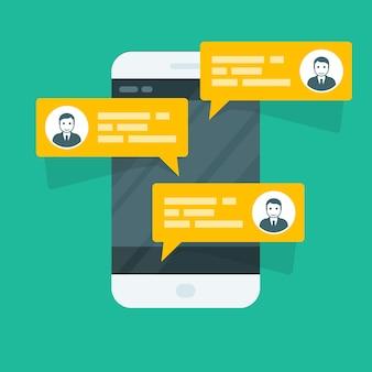 Sms sms - smartphone avec messages de chat