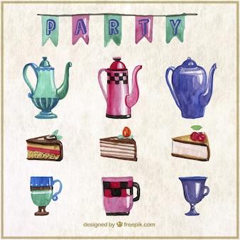Snack-éléments des partis de l'aquarelle