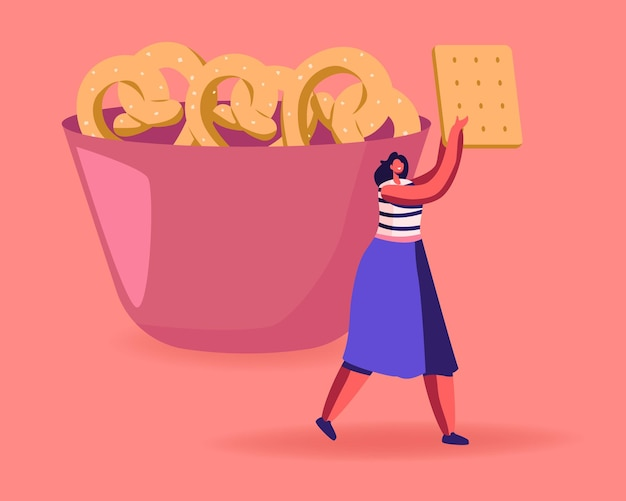 Snack, restauration rapide avec un concept de glucides de haut niveau. illustration plate de dessin animé