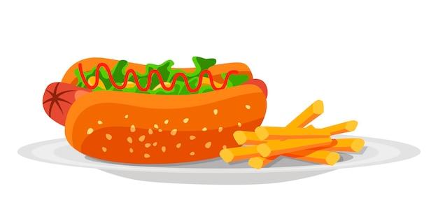 Snack-sandwich délicieux hot-dog avec saucisse, feuilles de salade, ketchup et pommes de terre frites sur plaque isolée