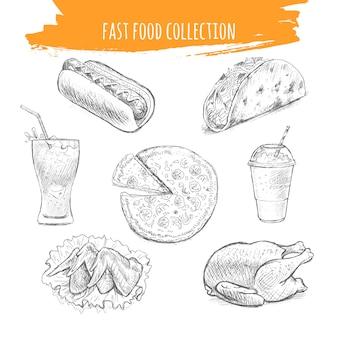 Snacks et desserts de restauration rapide icônes de croquis