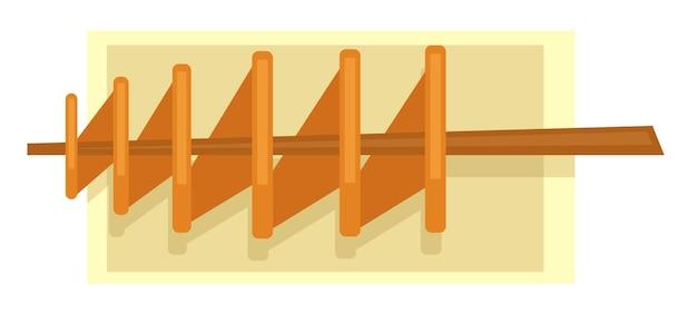 Snacks et plats de la cuisine occidentale. icône de chips de pommes de terre frites en spirale sur un bâton en bois sur une plaque. portion de produit traditionnel. carte des restaurants et des diners, restauration rapide. vecteur dans un style plat
