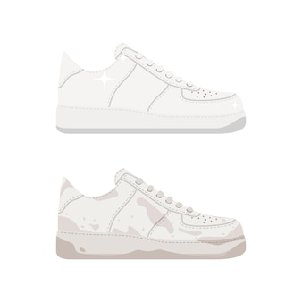 Sneaker propre et sale isolé sur blanc