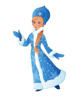 Snow maiden également connu sous le nom de russian snegurochka. jolie fille portant un long manteau bleu avec fourrure blanche.