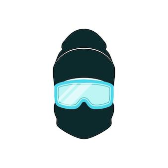 Snowboarder avatar avec bonnet d'hiver et lunettes bleues