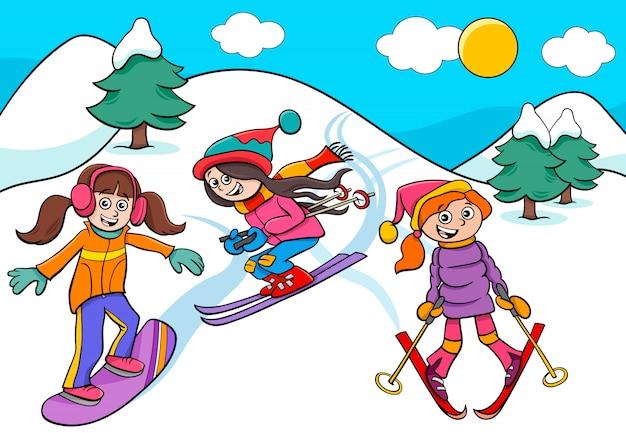 Snowboarding et ski illustration de dessin animé de filles