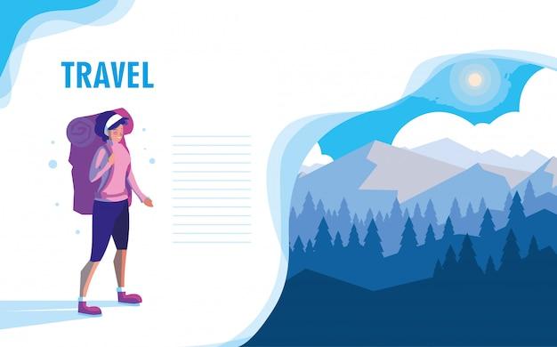 Snowscape nature avec illustration vectorielle voyageur