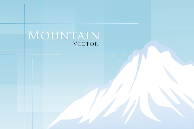 Snowy mountain on blue background