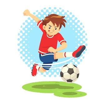 Soccer boy tir la balle pour faire un but