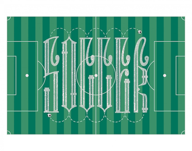 Soccer - concept de bannière, ligature d'inscription, avec ballon de foot.