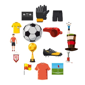 Soccer icons set football, style de bande dessinée