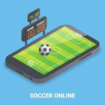 Soccer en ligne plat isométrique