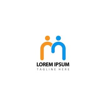 Social humain, unité, ensemble, connexion, relation, communauté, vecteur de conception de modèle de logo lié à la lettre m initiale