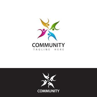 Social humain, unité, ensemble, connexion, relation, conception de modèle de logo communautaire