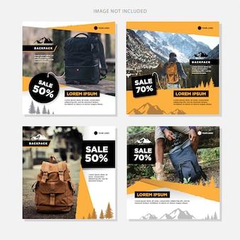 Social media banner vente de sacs à dos
