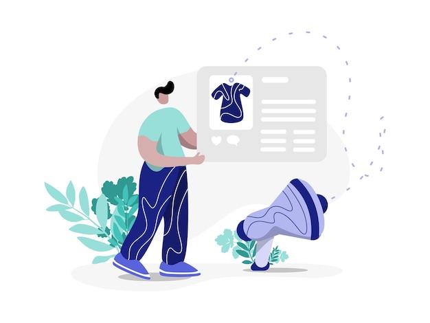 Social media marketing illustration plate style moderne minimal parfait pour les modèles de pages de destination