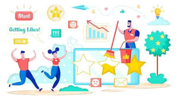 Social media marketing pour obtenir des coeurs, des étoiles.