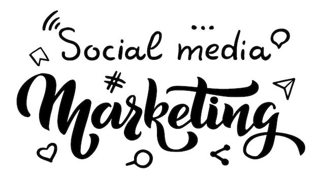 Social media marketing vector hand draw lettrage pour l'entreprise de logo de site web de projets