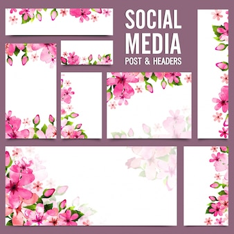 Social media post and headers with pink flowers.