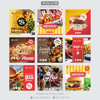 Social media post instagram template food