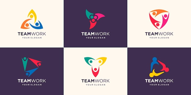 Social people unity together teamwork logo icon