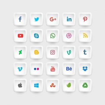 Sociale collection d'icônes des médias