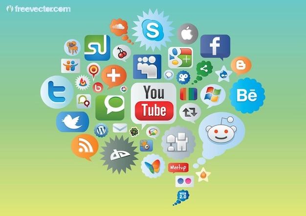 Sociale des icônes des médias