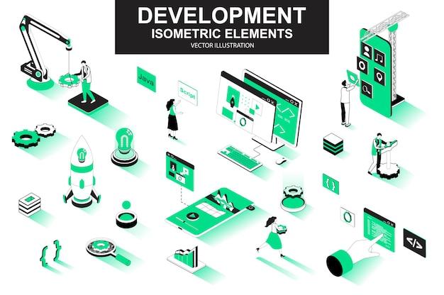 Société de développement éléments de ligne isométrique 3d