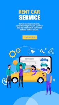 Société de location de voitures et page d'atterrissage mobile