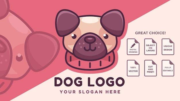 Société de logo de marque de chien carlin mignon