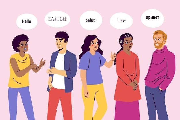 Société multiculturelle parlant dans différentes langues