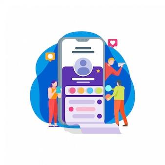 Socila media application illustration plate