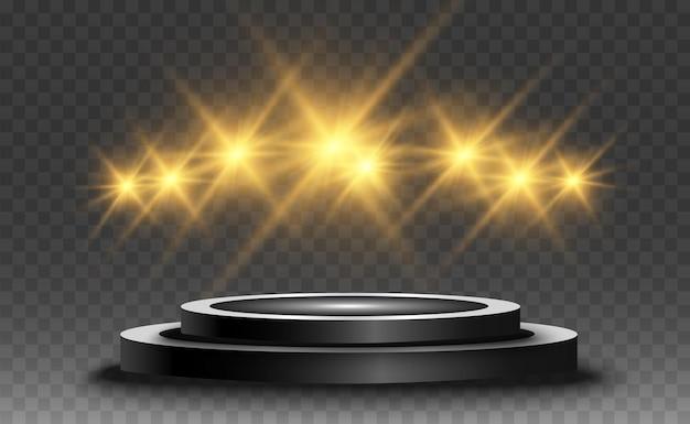 Socle rond ou plate-forme de podium éclairé par des projecteurs en arrière-plan illustration vectorielle