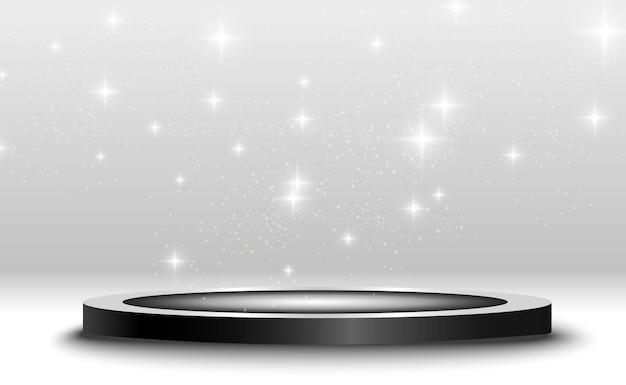 Socle rond ou plate-forme de podium éclairé par des projecteurs en arrière-plan