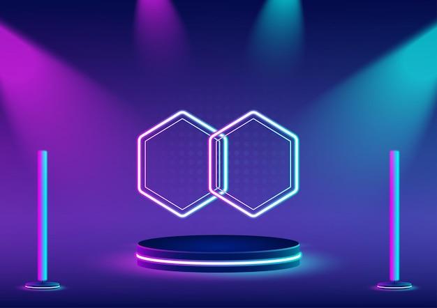 Socle ou vitrine de produit avec néon hexagonal derrière avec spots violets et bleu clair