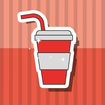 Soda, boisson rapide, dans, tasse papier, à, paille