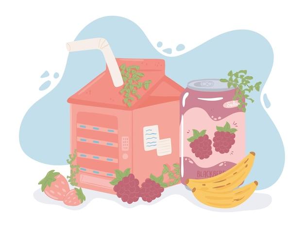 Soda Box Jus Fruits Vecteur Premium