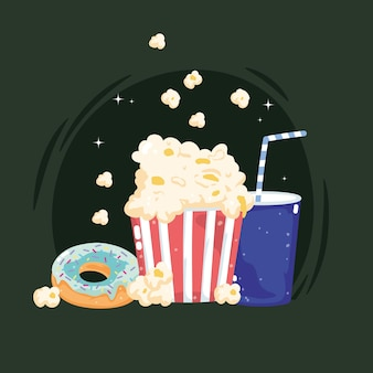 Soda donut pop-corn de restauration rapide