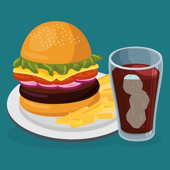 Soda avec fast food amburger