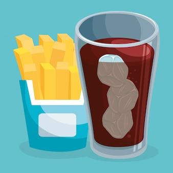 Soda avec des frites fast food