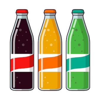Soda à l'orange, verre bouteille de limonade, eau douce gazéifiée.