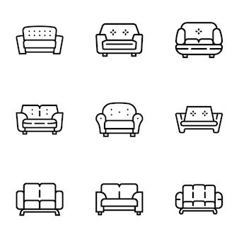 Sofa icon set, style de contour