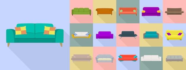 Sofa icon set, style plat