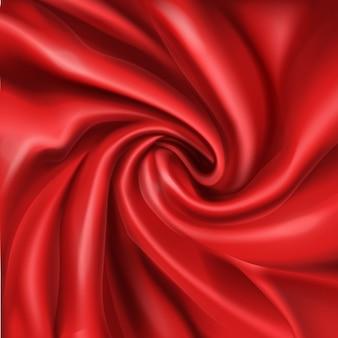 Soie rouge ondulée, pliée en spirale rides 3d abstrait réaliste, fond romantique.
