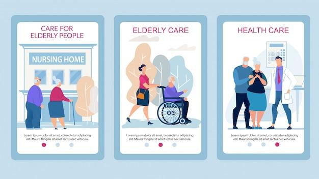 Soin des affiches publicitaires pour personnes âgées flat.