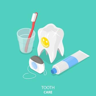 Soin des dents plat isométrique