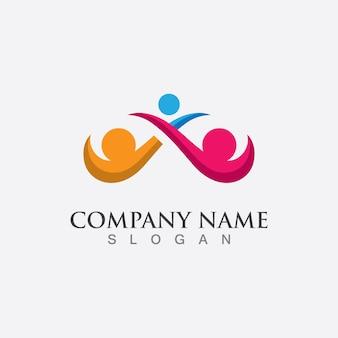 Soins communautaires et adoption logo template vecteur icône